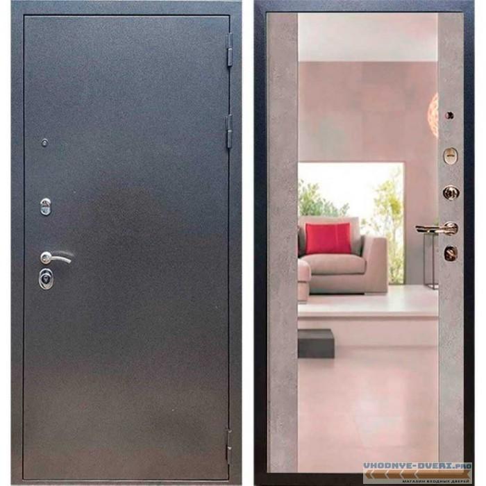 Входная дверь REX 11 Антик серебро Сб -16 Бетон темный (с зеркалом )