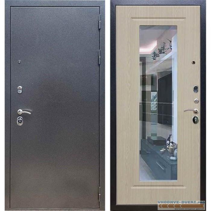 Входная дверь REX 11 Антик серебро ФЛЗ-120 Беленый дуб (с зеркалом)