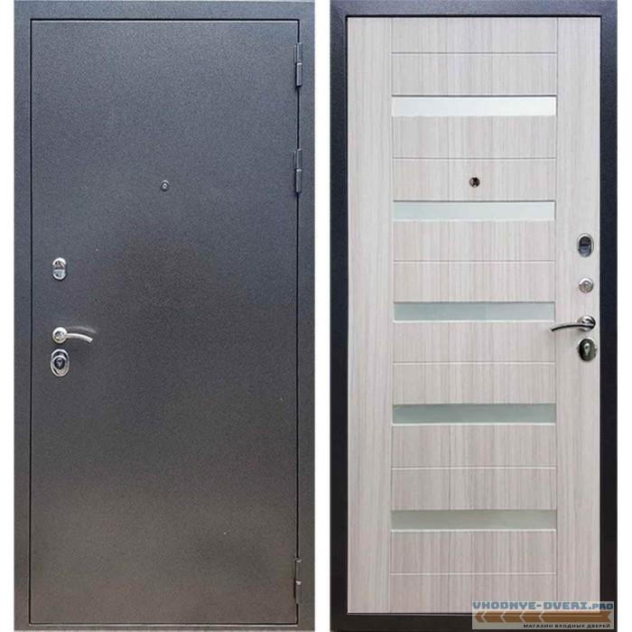 Входная дверь REX 11 Антик серебро СБ-14 Сандал белый, белые стекла