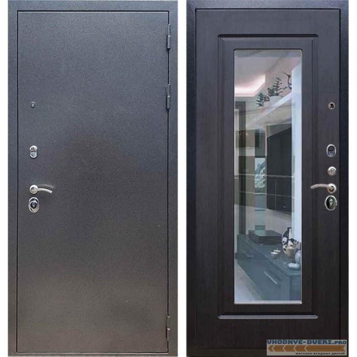 Входная дверь REX 11 Антик серебро ФЛЗ-120 Венге (с зеркалом)