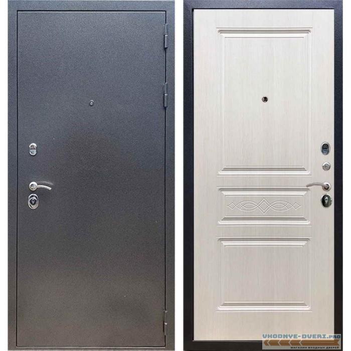Входная дверь REX 11 Антик серебро ФЛ-243 с узором Лиственница бежевая
