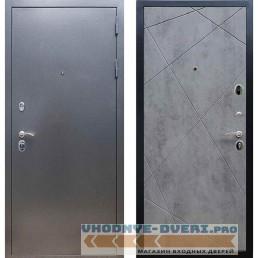 Входная дверь REX 11 Антик серебро ФЛ-291 (Лучи) Бетон темный