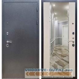 Входная дверь REX 11 Антик серебро СБ-16 Лиственница бежевая (с зеркалом)