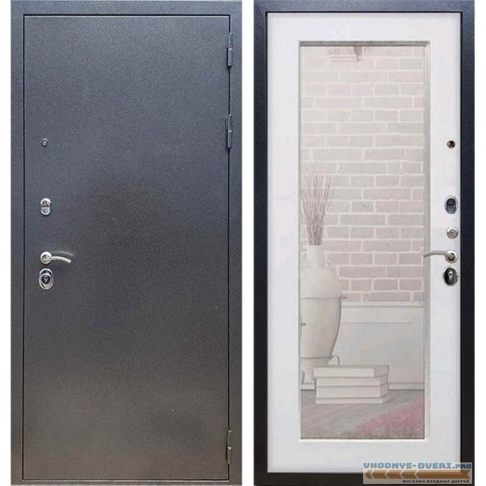 Входная дверь REX 11 Антик серебро Пастораль Силк сноу (с зеркалом)
