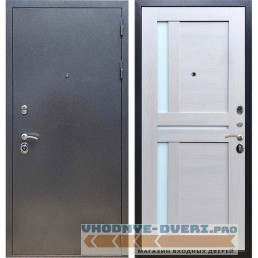Входная дверь REX 11 Антик серебро СБ-18 Лиственница бежевая, белые стекла