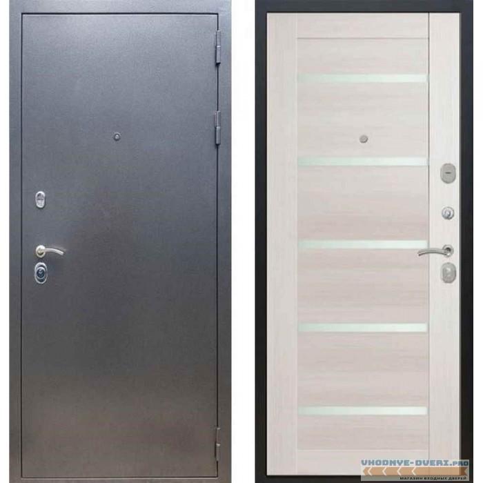 Входная дверь REX 11 Антик серебро СБ-14 Лиственница бежевая (со стеклом)