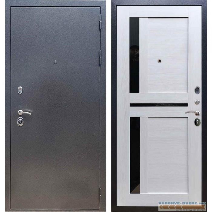 Входная дверь REX 11 Антик серебро СБ-18 Лиственница бежевая, черные стекла
