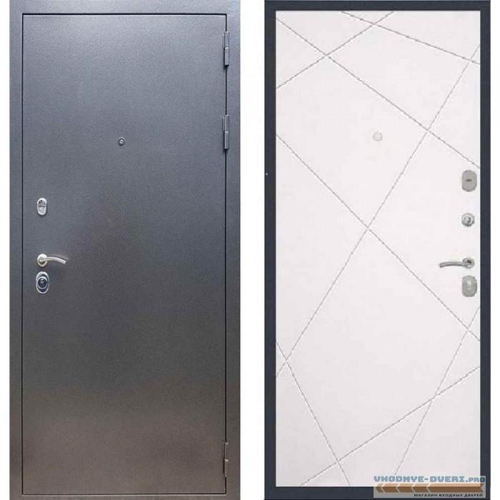 Входная дверь REX 11 Антик серебро ФЛ-291 (Лучи) Силк сноу