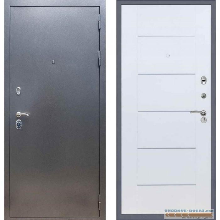 Входная дверь REX 11 Антик серебро В-03 Белый ясень