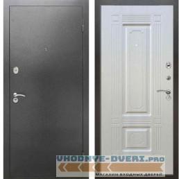 Входная металлическая дверь Рекс 2А Серебро антик ФЛ 2 Лиственница бежевая