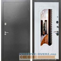 Входная металлическая дверь Рекс 2А Серебро антик ФЛЗ 147 Белый ясень