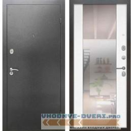 Входная металлическая дверь Рекс 2А Серебро антик СБ 16 с зеркалом Силк сноу