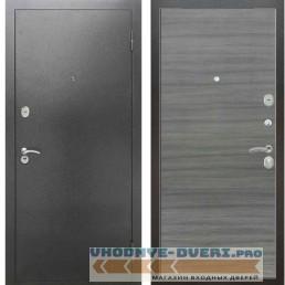 Входная металлическая дверь Рекс 2А Серебро антик Гладкая Сандал серый