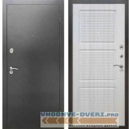 Входная металлическая дверь Рекс 2А Серебро антик ФЛ 1 Сандал белый