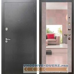 Входная дверь Рекс 2А Серебро антик Сб -16 Бетон темный (с зеркалом )