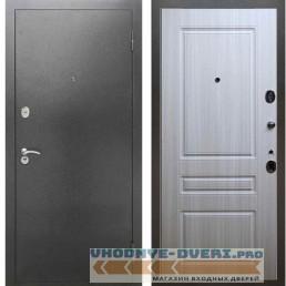 Входная металлическая дверь Рекс 2А Серебро антик ФЛ 243 Сандал белый
