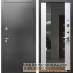 Входная металлическая дверь Рекс 2А Серебро антик СБ 16 с зеркалом Белый ясень