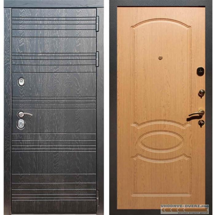 Входная дверь Рекс 14 Роял вуд черный ФЛ-128 Дуб
