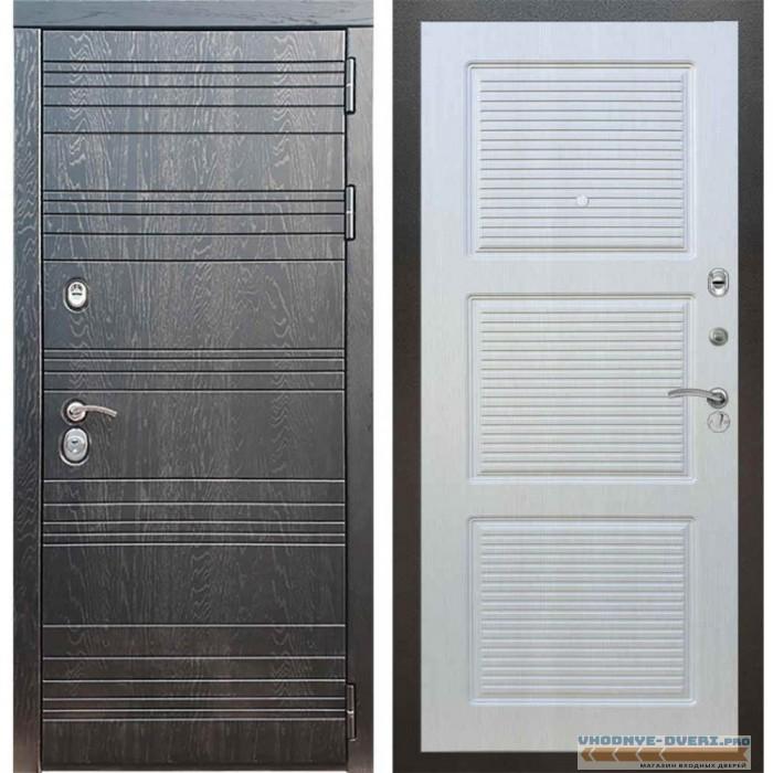 Входная дверь Рекс 14 Роял вуд черный ФЛ-1 Лиственница бежевая