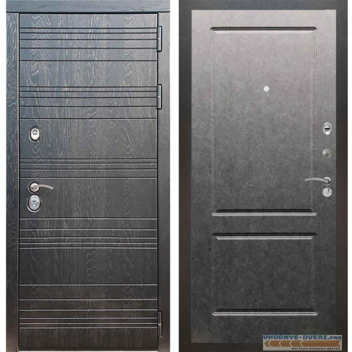 Входная дверь Рекс 14 Роял вуд черный ФЛ-117 Штукатурка графит