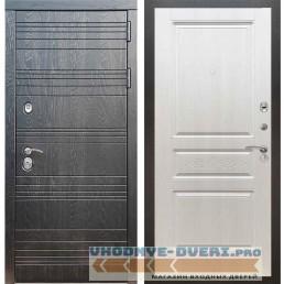Входная дверь Рекс 14 Роял вуд черный ФЛ-243 с узором Лиственница бежевая