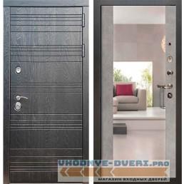 Входная дверь Рекс 14 Роял вуд черный Сб-16 Бетон темный ( с зеркалом )