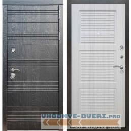 Входная дверь Рекс 14 Роял вуд черный ФЛ-1 Сандал белый
