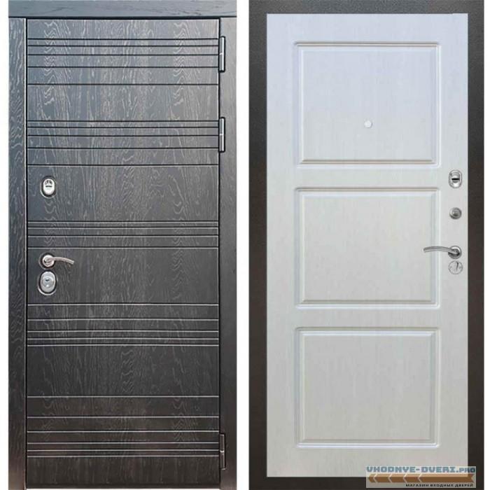 Входная дверь Рекс 14 Роял вуд черный ФЛ-3 Лиственница бежевая