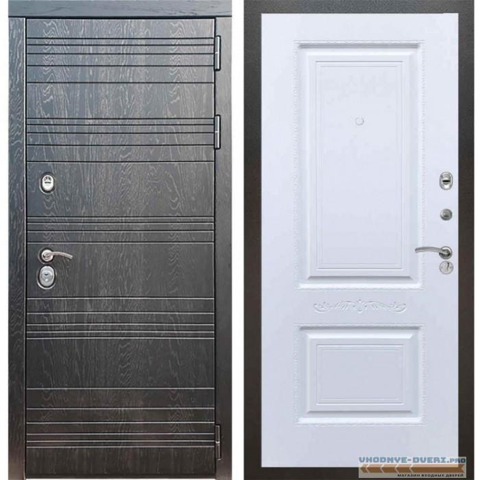 Входная дверь Рекс 14 Роял вуд черный Смальта 04 Силк сноу