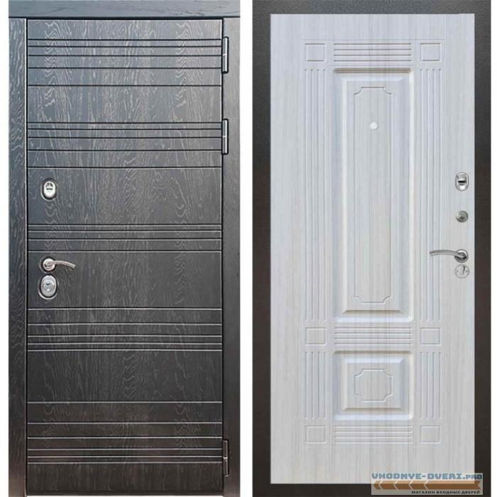 Входная дверь Рекс 14 Роял вуд черный ФЛ-2 Сандал белый