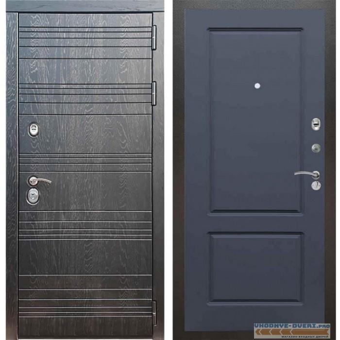 Входная дверь Рекс 14 Роял вуд черный ФЛ-117 Силк титан