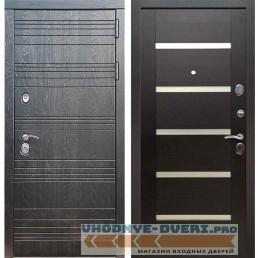 Входная дверь Рекс 14 Роял вуд черный СБ 14 Белое стекло Венге поперечный