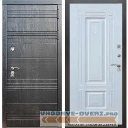 Входная дверь Рекс 14 Роял вуд черный ФЛ-2 Силк сноу