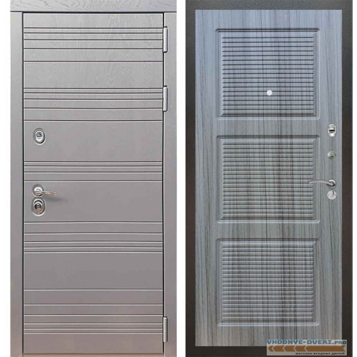 Входная дверь Рекс 14 Роял вуд графит ФЛ-1 Сандал серый