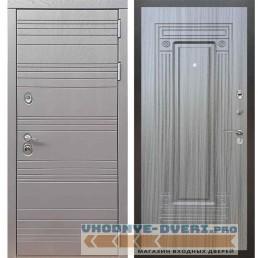 Входная дверь Рекс 14 Роял вуд графит ФЛ-4 Сандал серый