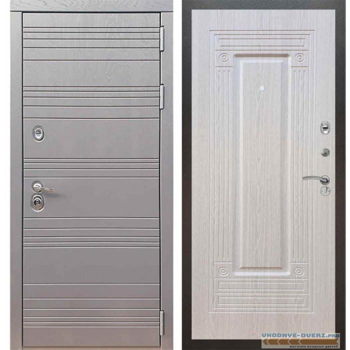 Входная дверь Рекс 14 Роял вуд графит ФЛ-4 Беленый дуб
