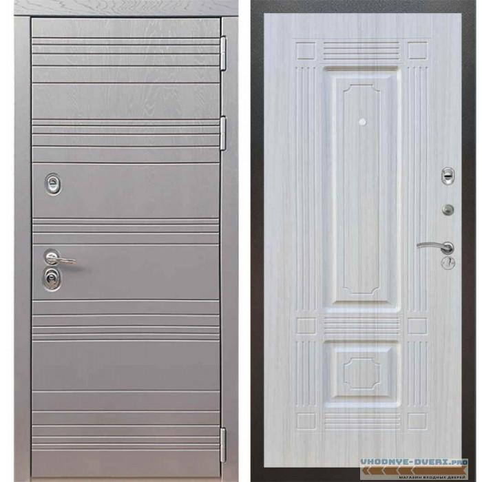 Входная дверь Рекс 14 Роял вуд графит ФЛ-2 Сандал белый