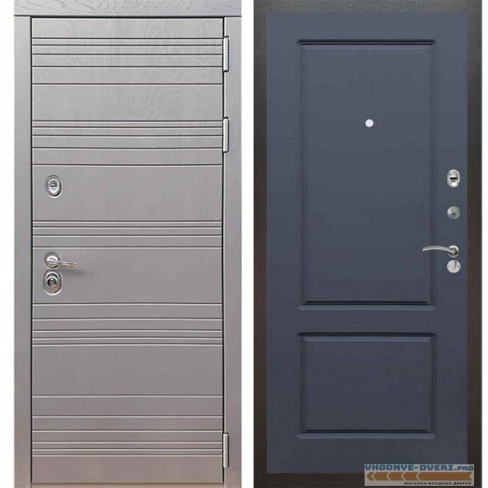 Входная дверь Рекс 14 Роял вуд графит ФЛ-117 Силк титан