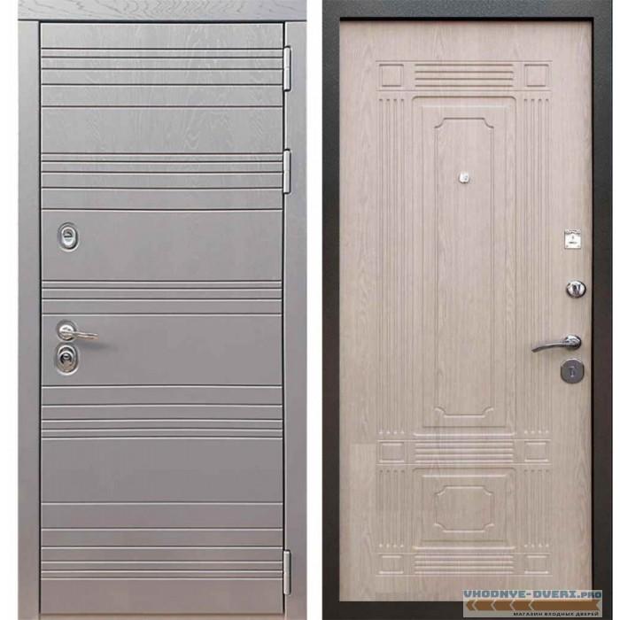 Входная дверь Рекс 14 Роял вуд графит ФЛ-2 Беленый дуб