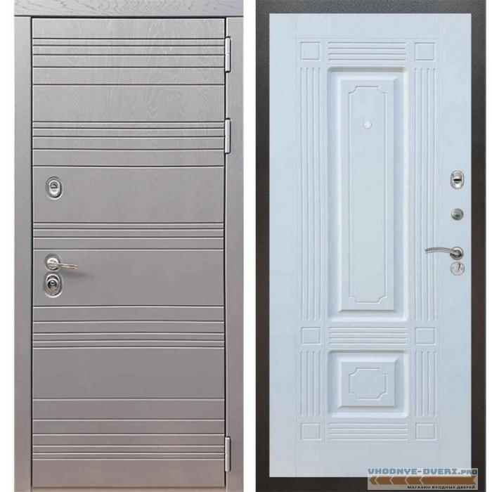 Входная дверь Рекс 14 Роял вуд графит ФЛ-2 Силк сноу