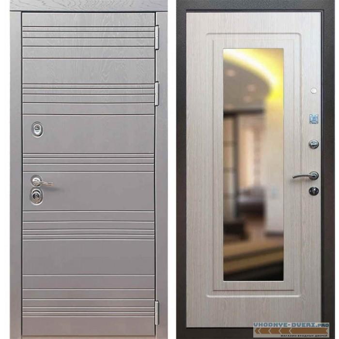 Входная дверь Рекс 14 Роял вуд графит ФЛЗ 120 Беленый дуб