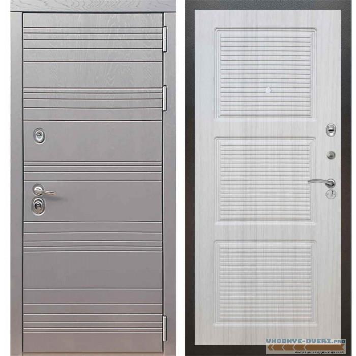 Входная дверь Рекс 14 Роял вуд графит ФЛ-1 Сандал белый