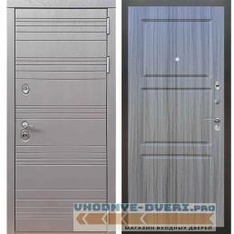 Входная дверь Рекс 14 Роял вуд графит ФЛ-3 Сандал серый
