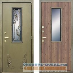 Дверь АСД Стальная с окном и ковкой в цвете старый дуб