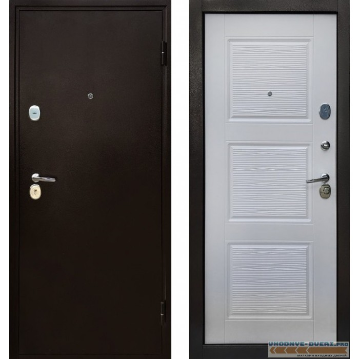 Металлическая входная дверь Авангард Беленый дуб