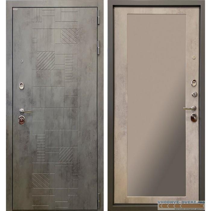 Стальная дверь Ратибор Тетрис 3К с зеркалом (Бетон светлый)